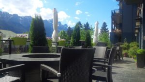 Private quiet outdoor patio with beautiful views of the Canadian Rockies.